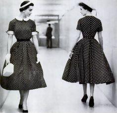 hollyhocksandtulips:  That awkward moment…the polka dot dress, 1954