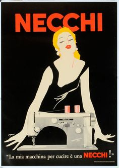 "Vintage Ad Advert Art Poster- ""Necchi"" sewing machines Grignani - c 1950"