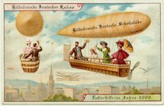 Cartão Postal do início do século XIX produzidos pela empresa alemã de chocolates Hilderbrand.  Imaginando como seria o mundo no ano 2000.