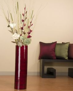 large vase decor - Google Search Tall Floor Vases, Large Floor Vase, Tall Vases, Large Vases, Tall Vase Decor, Floor Vase Decor, Vases Decor, Green Vase, Red Vases