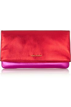Saint Laurent Letters metallic leather clutch | NET-A-PORTER