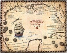 Shipwreck Map Of The Gulf Of Mexico Artwork 15 x Shipwrecks, Treasure Maps, Atocha, Key West, Sh Vintage Nautical, Nautical Art, Old Maps, Antique Maps, Pirate Maps, Art Carte, Treasure Maps, Compass Rose, Gulf Of Mexico