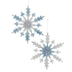 6PC//Pack 4.5 Inch Red Acrylic Snowflake With Glitter Christmas Decoration Ornament Christmas Elegance