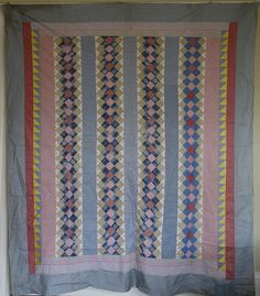 Quilt TOP -unused- pretty pastels, yet with Zing!, Cow Hollow Collectibles, Ruby Lane
