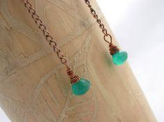 Copper Chain Green Onyx Earrings by StephanieStoks on Etsy, $12.00