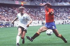 Spain 1 West Germany 0 in 1984 in Paris. Rudi Voller crosses the ball before Andoni Goikoetxea gets there in Group B at Euro '84.