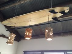 "So creative! A ""Surfboard Chandelier"". Great way to re-cycle the ol' board!"