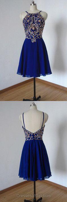 Roayl Blue Prom Dress, Chiffon Prom Dresses, Open Back Homecoming Dress, Sexy Homecoming Dresses, Short Cocktail Dress
