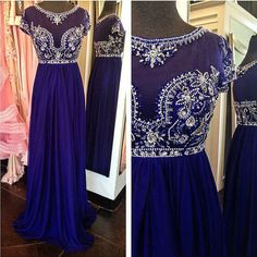 Gorgeous Illusion Neckline Beaded Dark Royal Blue Prom Dresses 2016 Sexy Sheer Cap Sleeves Long Prom Party Gown vestidos largos