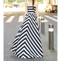 Simple Design Strapless Color Block Wide Hem Striped Maxi Dress For Women