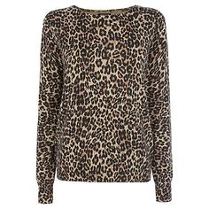 Buy Warehouse Classic Animal Print Crew Neck Jumper, Camel Online at johnlewis.com