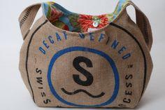 Recycled Burlap Coffee Sack  Hobo Style Purse. $38.00, via Etsy.