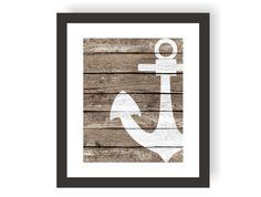 Nautical Anchor Decor Art Print  Rustic Nautical by VerbosePrints