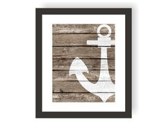 Nautical Anchor Decor - rustic nautical wall decor set on a Faux Wood background. IS THIS AS A GIFT? Add a mat and gift note. Your print will