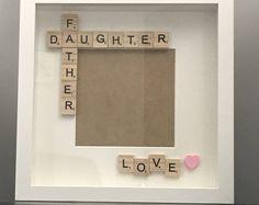by FramesAndGiftsBySara - Father daughter box frame, Father's Day frames, Father's Day gifts, father daughter box frame, - First Fathers Day Gifts, Fathers Day Presents, Great Father's Day Gifts, Gifts For Dad, Scrabble Crafts, Scrabble Frame, Scrabble Tiles, Diy Father's Day Crafts, Father's Day Diy