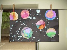 Splatter paint and watercolor outer space art we did in my Kindergarten class today thanks to pinkand greenmama.blogspot.com