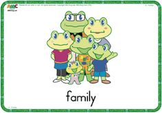 Family flashcards with frogs! ESL Flash Cards - English for Kids Kindergarten Activities, Family Activities, Family Worksheet, English Activities, Vocabulary Cards, English Lessons, Teaching English, Esl, Smurfs