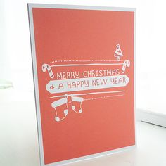 Red Modern Graphic Christmas Card £2.15 from Ello Design