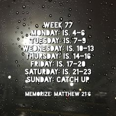Week 77 Bible Reading Schedule, How To Get, How To Plan, How To Memorize Things