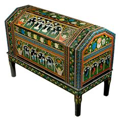 Mexican Painted Furniture | Vintage Mexican Painted and Lacquered Chest - Olinala at 1stdibs