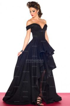 A-Line/Princess Off-the-shoulder Taffeta High Low Hem Court Train Evening Dress - IZIDRESSES.com at IZIDRESSES.com