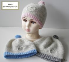 Ravelry: Hjertelua til barn pattern by StrikkeBea Knitted Hats, Crochet Hats, Chrochet, Knitting Projects, Ravelry, Sewing, Pattern, Beanies, Facebook