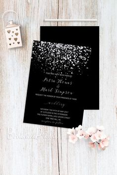 Black & Silver Wedding Invitations, Silver Glitter, Confetti, Elegant Wedding Invitation Set, Printa