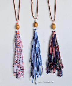 DIY Shabby Boho Fabric Tassel Necklaces madeinaday.com