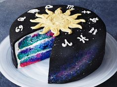 Create this stellar constellation-inspired Zodiac Cake using boxed cake mix, and just a little craftiness. The colorful astrological layer cake is fun to assemble and decorate, and would make for an awesome birthday centerpiece. Food Cakes, Cupcake Cakes, Beautiful Cakes, Amazing Cakes, Easy Cake Recipes, Dessert Recipes, Gold Food Coloring, Galaxy Desserts, Galaxy Cake