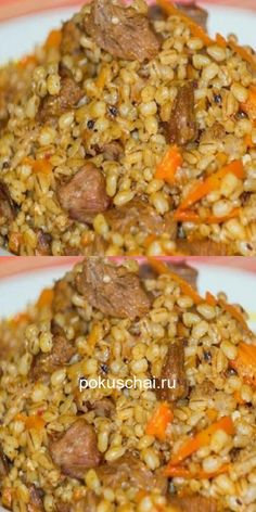 Impossible to break away! Unusually delicious pilaf from pearl barley with meat. Vegan Recipes, Cooking Recipes, Russian Recipes, Quick Easy Meals, Meal Prep, Food To Make, Food Photography, Food Porn, Good Food