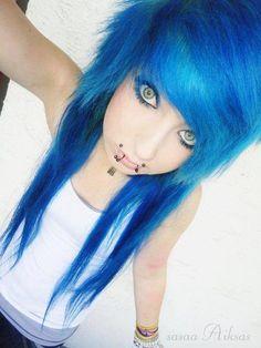 blue emo hair