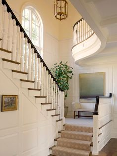 Beautiful Classic Architectural House Adorned with Ornamental Plants : Exciting Entry With Traditional Staircase Decorated By Indoor Plant K...