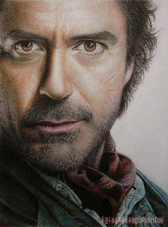 pakde Robert DOWNEY Jr. Sherlock HOLMES  Stunning Colored Pencil Art Drawings of Cute Celebrities