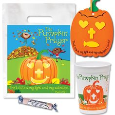 check this out on our store christian halloween pumpkin prayer party pack with cup bag candy - Christian Halloween Decorations