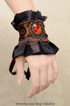 Steampunk Victorian Cuff Bracelet Edwardian Style by Vilindery, $34.00