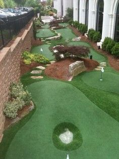 Championship Putting Course - traditional - landscape - atlanta - Southwest Greens Atlanta - Another! Home Putting Green, Backyard Putting Green, Large Backyard Landscaping, Landscaping Tips, Southern Landscaping, Backyard Designs, Landscaping Software, Traditional Landscape, Backyard Games