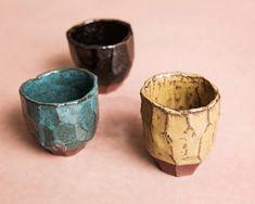 Cups -brown, caramel, jade green. Raku inspired ceramics by Laura Allen Müller. Every item is unique and handcrafted in Copenhagen.