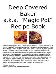 Scribd is the world& largest social reading and publishing site. Rockcrok Recipes, Pampered Chef Recipes, Baker Recipes, Microwave Recipes, Cooking Recipes, Deep Covered Baker, Pampered Chef Stoneware, Chicken Roaster