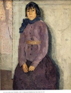 Gwen John (British, Girl with a Blue Scarf, Oil on canvas MoMA Gwen John, Mary John, Figure Painting, Painting & Drawing, Post Impressionism, Portraits, Portrait Paintings, Art Paintings, French Artists