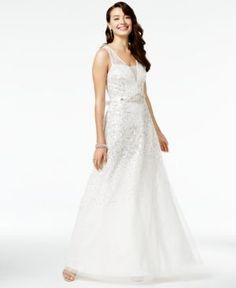 Say Yes to the Prom Juniors' Sequined Gown, A Macy's Exclusive - White/Silver 11/12