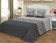 Ágytakaró szett: 1 db 220x240 cm ágytakaró + 2 db 40x40 cm díszpárna huzat - szürke barokk