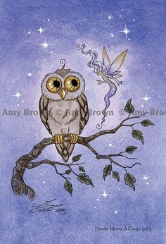 """Hootie Meets A Fairy"" Little Owls postcard set by Amy Brown by AmyBrownArt on Etsy"