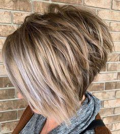 Asymmetrical Bob Haircuts, Layered Bob Haircuts, Short Hairstyles For Thick Hair, Short Hair Cuts, Short Hair Styles, Inverted Bob, Short Hair In Back, Short Stacked Hair, Stacked Bob Hairstyles