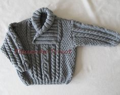 Grey Knitted Baby Cardigan, Baby Boy Cable Sweater Coat, Cute Hand Knit Newborn Boy Coming Home Outfit Clothes, New Born Baby Knitwear, Gift Baby Knitting Patterns, Hand Knitting, Knitted Baby Cardigan, Cable Sweater, Pull Torsadé, Baby Showers, Ravelry, Online Checks, Coming Home Outfit