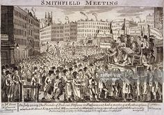 Political meeting at Smithfield, London, A meeting of radical reformers presided over by Henry Hunt on July People crowd towards the makeshift platform made from a cart where Hunt. Get premium, high resolution news photos at Getty Images Smithfield London, Smithfield Market, Universal Suffrage, Stock Pictures, Stock Photos, People Crowd, Library Art, Regency Era, Heritage Image