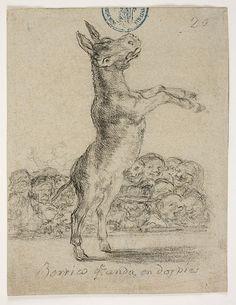 Goya – Borrico que anda en dos pies, 1825-1828; Álbum de Burdeos I o Álbum G, 20; Lápiz negro y lápiz litográfico | Museo Nacional del Prado