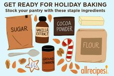 For your best holiday baking, be sure your pantry is stocked with a fresh (or still-good) supply of these staple ingredients. Cooking For Beginners, Beginner Cooking, Cooking Tips, Baking Pan Sizes, Baking Recipes, Cookie Recipes, Soften Brown Sugar, Diy Holiday Gifts, Slide
