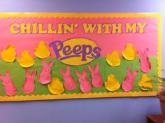 Easter bulletin board. Peeps board. Pre-K - 5th grade bulletin board