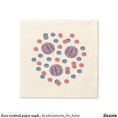 Ecru cocktail paper napkins with red-blue balls