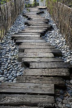 Railway sleepers as path